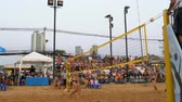 залп : Womens Beach Volleyball Championship in Thailand Стоковые видеозаписи