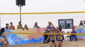 beach ball : Womens Beach Volleyball Championship in Thailand. Slow Motion Stock Footage
