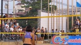 momento : Womens Beach Volleyball Championship in Thailand. Slow Motion Stock Footage