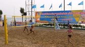 блоки : Womens Beach Volleyball Championship in Thailand. Slow Motion Стоковые видеозаписи