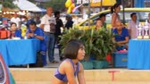 prática : Womens Beach Volleyball Championship in Thailand. Slow Motion Stock Footage