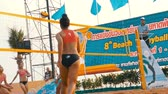 siatkówka : Womens Beach Volleyball Championship in Thailand. Slow Motion Wideo