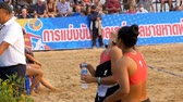 залп : Womens Beach Volleyball Championship in Thailand. Slow Motion Стоковые видеозаписи