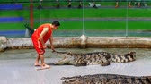 tehlikede : Crocodile show. Animal trainer and crocodiles in the arena. Thailand. Asia