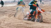 motorized sport : Motocross. Off-road racing on enduro bikes. Slow motion