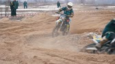 offroad : Motocross. Off-road racing on enduro bikes. Slow motion