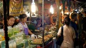 basting : People walk at National Asian street food in Night Market on Jomtien Beach