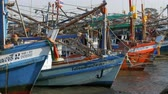 seine : Many different old wooden fishing boats at the pier. Thailand. Asia. Pattaya Stock Footage