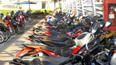 двигатель : Motorbike on the Parking in Thailand near the Shopping Center Стоковые видеозаписи