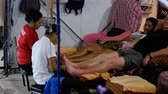 acupuncture : Traditional Thai foot massage at the Jomtien night market. Thailand. Stock Footage