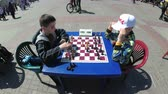 peão : Chessboard and figures. Competitions in checkers among children