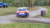 gps : Championship in Rally. Rally Racing on sports cars on the asphalt road in the city Stock Footage