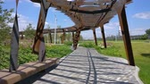 Tufeleva roscha architecture park in Moscow. Summer day at landscape park walk 4k time lapse Russia
