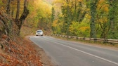 Autumn nature and road into canyon mountain forest. Car moving on road.