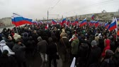 politics : MOSCOW, RUSSIA - MARCH 1, 2015 Time Lapse:   A huge crowd. Russian opposition hold mourning march after Boris Nemtsov death. Boris Nemtsov was shot dead on Februrary 28 2015.