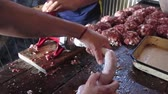 frankfurters : Homemade Chorizo ??Sausage preparation Stock Footage