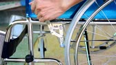tekerlekler : Brake system of wheelchair Stok Video