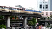 Bangkok , Thailand - 17 June, 2019 : Sky train moving from the  victory monument station in Bangkok for passenger