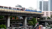 Bangkok, Thailand - 17 June, 2019 : Sky train moving from the  victory monument station in Bangkok for passenger
