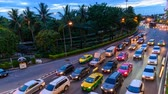 Bangkok, Thailand - 18 June, 2019 : Day to night Time lapse a lot of traffic car in the Bangkok city Stockvideo
