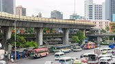 Bangkok, Thailand - 17 June, 2019 : Sky train and bus moving from the victory monument station in Bangkok for passenger