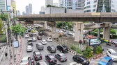 Bangkok, Thailand - 2 Sep, 2019 : Time lapse of a lot traffic at Chong Nonsi bridge junction  blurry traffic light in the city