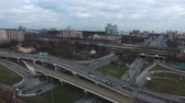 turnpike : Flight over road junction in big city Stock Footage