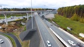 interestadual : Drone flies over the road urban junction. Highway in Moscow. Birds eye view.