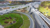 turnpike : Drone flies over the road urban junction. Highway in Moscow. Birds eye view.