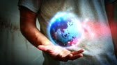Planetensystem in der Hand.  Stock Footage