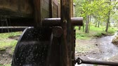 Rustic watermill with wheel being turned by force of falling water from Altai mountain river.
