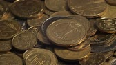 hryvnia : Money rotate on the table. Bills and coins. Closeup. Hryvnia. shadow