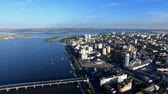 aerophotography : Flying Over The City Waterfront on The Cathedral on The River. Phantom 3 Professional. Aerial Survey 4K Stock Footage