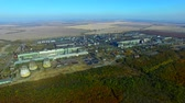 smell : Flight near the steel plan. Metallurgical industry aerial view autumn