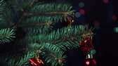 decorativo : Boy Decorates the Christmas Tree Toys. Black Background