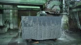 sertlik : Granite processing in manufacturing. Cutting granite slab with a circular saw. Use of water for cooling Stok Video