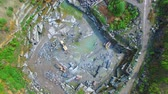 mica : Flying over the stone quarries of gray granite. aerial survey