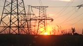 electricity pole : High Voltage Power Station at Sunset