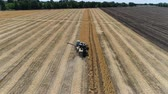 combine harvester : Old harvester reaps wheat. Aerial Stock Footage