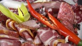 salame : Smoked cold cuts on a plate