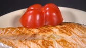 salmon pink : Decorate plate with salmon steak