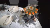 Dish with red caviar on the holiday table Vidéos Libres De Droits