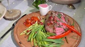 leeks : Ready beef steak with vegetables Stock Footage