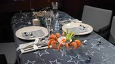 キャビア : Christmas table with shrimps and champagne