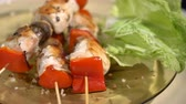 grill marinade : Chicken skewers on the table Stock Footage