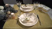 szampan : Served festive Christmas table Wideo
