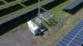 energia alternativa : Flight over a large solar power station. Aerial survey Stock Footage