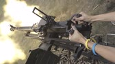 calibro : Large-caliber machine gun firing range. Slow motion Filmati Stock