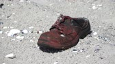 cansado : Old boot on the sandy shore of the Black Sea Stock Footage