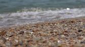 zátoka : Sea wave on the sandy shore of the Black Sea. Slow motion